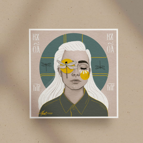 Poster print Dragonfly Girl Square by Nast Enna